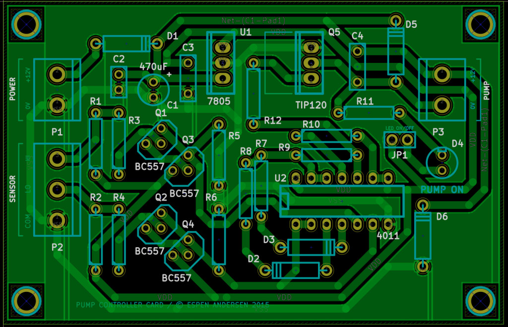 The PCB for the pump controller is designed in the open-source software KiCad.