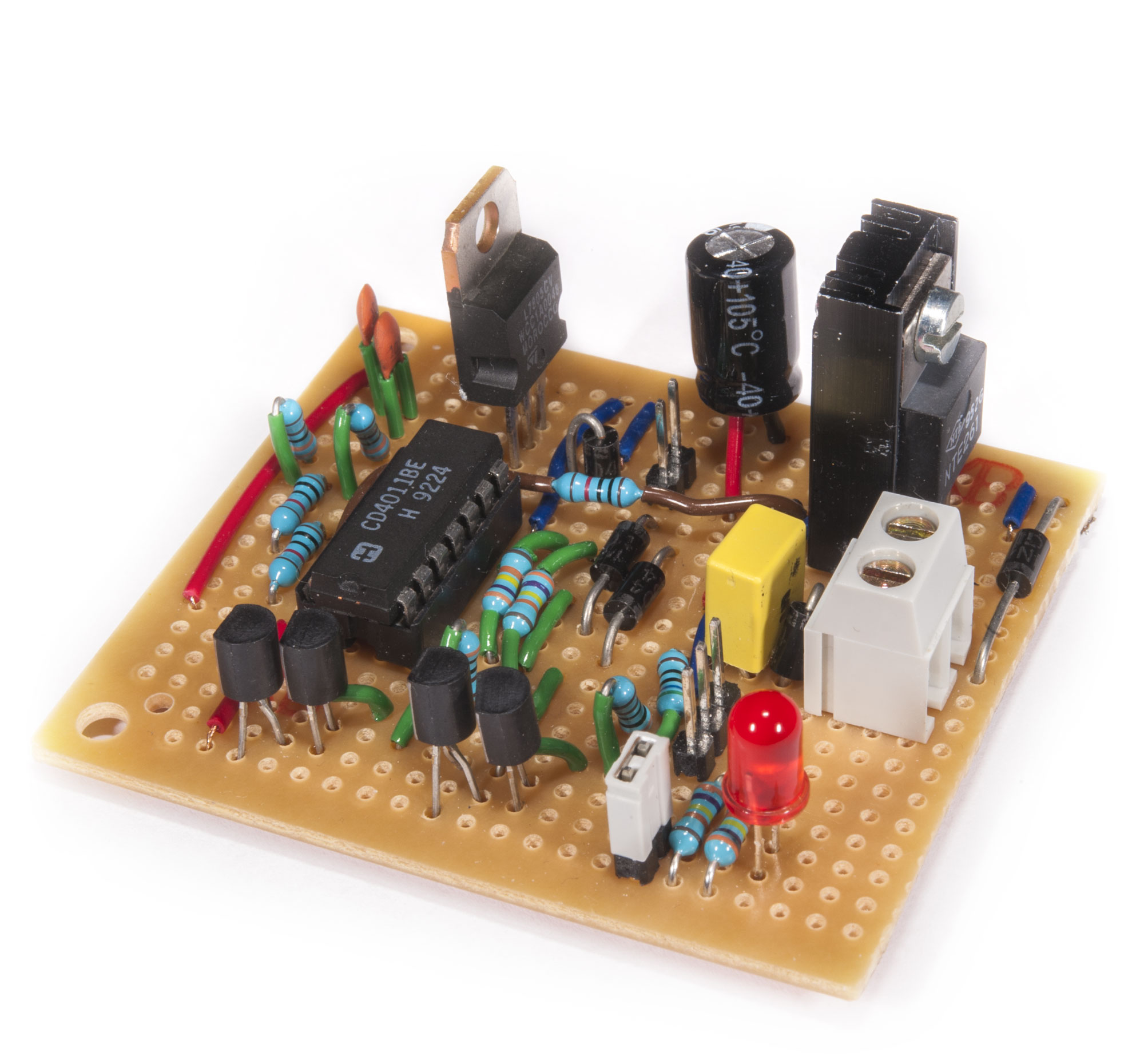 Watering Pump Controller Espen Andersens Site Pin Circuit Board Capacitors Electronics Operational Amplifiers On Using A Stripboard Is Viable Option If You Dont Want To Make Pcb Here The Made Even Smaller Than With Original